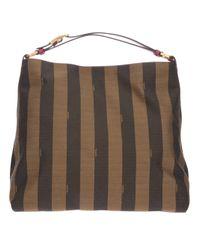 Lyst - Fendi Pequin Hobo Tote in Brown c5a1db7b1e