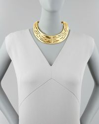 Kenneth Jay Lane | Metallic Hammered Satin Golden Collar Necklace | Lyst
