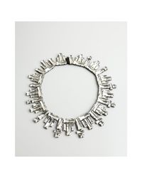 Noir Jewelry | Metallic Clear and Black Crystal Collar Necklace | Lyst