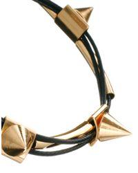 ASOS - Black Spike Cord Bracelet - Lyst