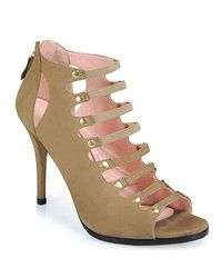 Stuart Weitzman - Natural Marie Strappy Open Toe Bootie in Taupe - Lyst