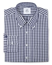 Brooks Brothers | Blue Black Fleece Long-sleeve Button-down Check Shirt for Men | Lyst