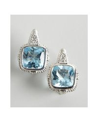 Judith Ripka | Metallic Diamond and Blue Topaz Roma Earrings | Lyst