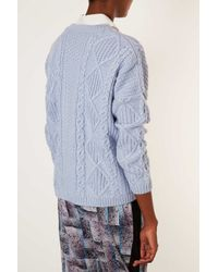 TOPSHOP - Blue Knitted Angora Cable Jumper - Lyst