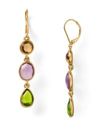 Carolee | Brown Stained Glass Linear Drop Earrings | Lyst