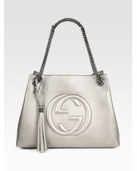 c683291fc07 Lyst - Gucci Soho Leather Shoulder Bag in Metallic