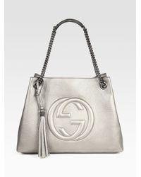 7fab6a04e37b3 Lyst - Gucci Soho Leather Shoulder Bag in Metallic