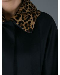 Gucci | Black Leopard Print Collar Overcoat | Lyst