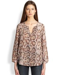 Joie - Brown Purine Silk Pythonprint Blouse - Lyst