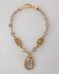 Jose & Maria Barrera | Metallic Druzy Crystal Necklace 22l | Lyst