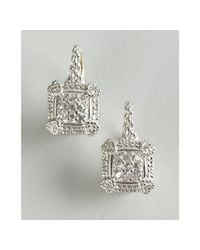 Judith Ripka - Metallic White Sapphire and Silver Pave Linen Cushion Square Earrings - Lyst
