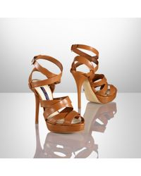 Ralph Lauren Collection - Brown Jessia Kidskin Sandal - Lyst
