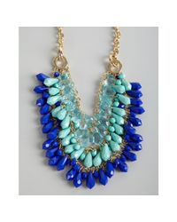R.j. Graziano | Blue Acrylic Crystal Triple Strand Bib Necklace | Lyst