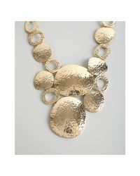 R.j. Graziano - Metallic Gold Hammered Metal Disc Bib Necklace - Lyst