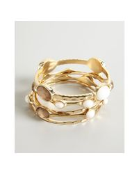 R.j. Graziano | Metallic Set Of Five Gold Metal and Stone Bangles | Lyst