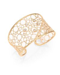 Roberto Coin | Metallic Diamond 18k Rose Gold Woven Cuff Bracelet | Lyst