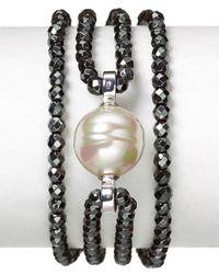 Majorica | Black Baroque Manmade Pearl Cubic Zirconia Four Row Hematite Bracelet | Lyst