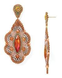 Miguel Ases - Orange Nectarine Quartz and Peach Moonstone Flower Drop Earrings - Lyst