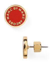 Marc By Marc Jacobs - Red Enamel Logo Disc Stud Earrings - Lyst