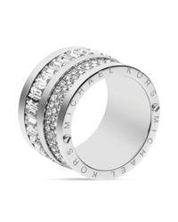 Michael Kors - Metallic Pave Baguette Barrel Ring - Lyst