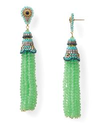 Miguel Ases | Green Prehnite Quartz Swarovski Tassel Earrings | Lyst