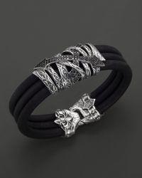 Scott Kay | Mens Leather Triple Row Bracelet with Cross Pave Black Diamonds for Men | Lyst