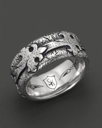 Scott Kay | Metallic Mens Sterling Silver Distressed Fleur De Lis Band Ring for Men | Lyst