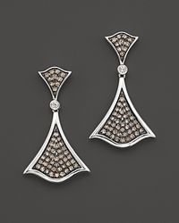 Badgley Mischka | Metallic White and Brown Diamond Pavé Earrings | Lyst