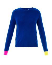 Chinti & Parker - Blue Contrast-Cuff Cashmere Sweater - Lyst