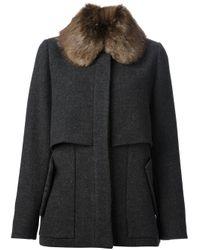 Marni | Black Fur Collar Coat | Lyst