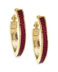 Anne Klein | Pink Goldtone and Cranberry Leather Hoop Clip Earrings | Lyst