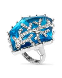 Betsey Johnson - Silvertone Blue Crystal Stretch Ring - Lyst