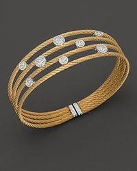 Charriol - Metallic Round Station Classique Diamond Cuff Bracelet - Lyst