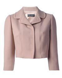 Dolce & Gabbana   Pink Cropped Blazer   Lyst