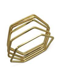 Guess - Metallic Bracelet Set Goldtone Hexagon Set Of 5 Bangles - Lyst