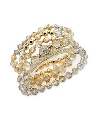 INC International Concepts - Metallic Gold-tone Black/grey Shimmer Crystal Stretch Bracelet Set - Lyst