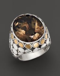 John Hardy | Metallic 18K Gold & Sterling Silver Dot Large Oval Ring With Smoky Quartz | Lyst