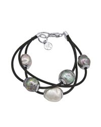 Majorica - Gray Baroque Organic Manmade Pearl and Leather Three Row - Lyst