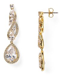 Nadri   White Romantic Contemporary Linear Drop Earrings   Lyst
