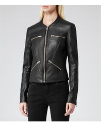 Reiss - Black Opal Collarless Leather Jacket - Lyst