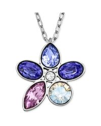 Swarovski | Blue Rhodiumplated Purple Crystal Flower Pendant Necklace | Lyst