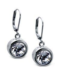 T Tahari | Metallic Silver-tone Bezel Crystal Signature Drop Earrings | Lyst