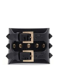 Valentino | Black 'rockstud' Wide Patent Leather Bracelet | Lyst
