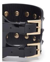 Valentino - Black 'rockstud' Wide Patent Leather Bracelet - Lyst