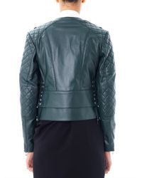 Balenciaga - Green Quilted Shoulder Leather Biker Jacket - Lyst