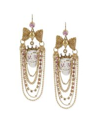 Betsey Johnson | Metallic Antique Goldtone Lace Skull Multichain Chandelier Earrings | Lyst
