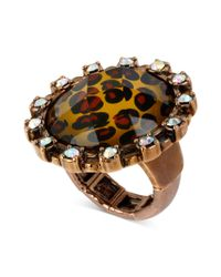 Betsey Johnson | Metallic Antique Gold-tone Leopard Crystal Round Stretch Ring | Lyst