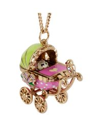 Betsey Johnson | Multicolor Goldtone Baby Carriage Pendant Long Necklace | Lyst