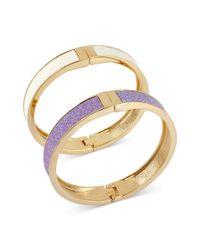 Betsey Johnson - Purple White and Lilac Glitter Hinged Bangle Bracelets - Lyst