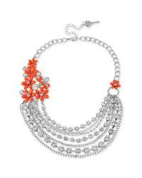 Betsey Johnson - Metallic Rhodium Plated Flower Multi Chain Necklace - Lyst